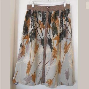 Edme & Esyllte Tweed Trim fall button skirt midi